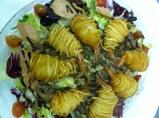 Ensalada Templada de hongos y foie con crujiente de langostinos
