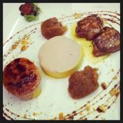 Foie en texturas (mi-cuit, mouse y escalope plancha) acompañado con mermelada de higo